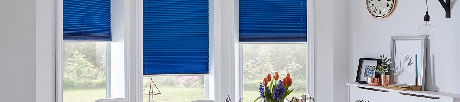 Blue Pleated Blinds
