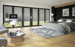Grey pleated perfect fit blinds