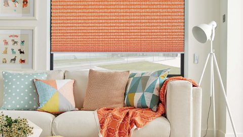 Orange Pleated Blinds