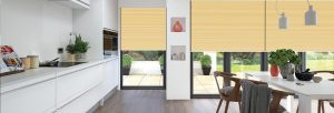 Yellow pleated blinds