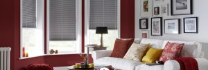 Grey pleated blinds