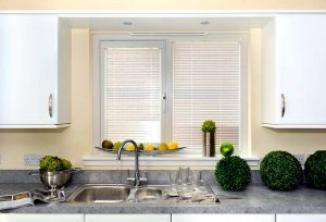 White kitchen venetian blinds