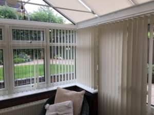 Vertical Blind Installed in Conservatory